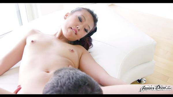 Asian schoolgirl Miko Dai pussy licking by James Deen