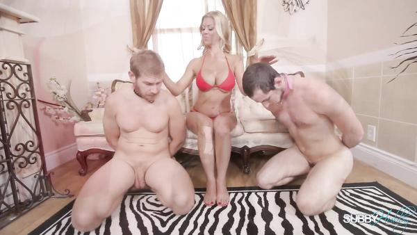 Female Master Alexis Fawx and two of her new sex slaves