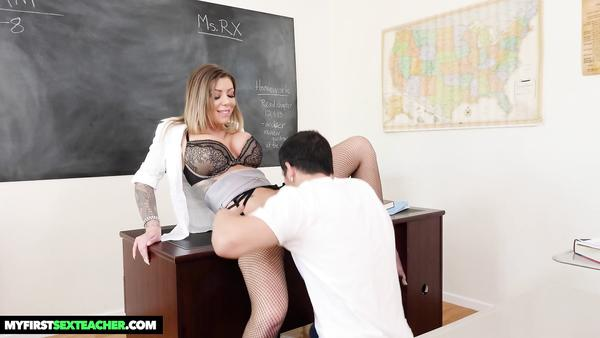 Tattooed Teacher Karma Rx Shows Her Big Tits And Fucked On The Desk