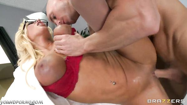 Sexy nurse gets her pussy hammered by a bald patient